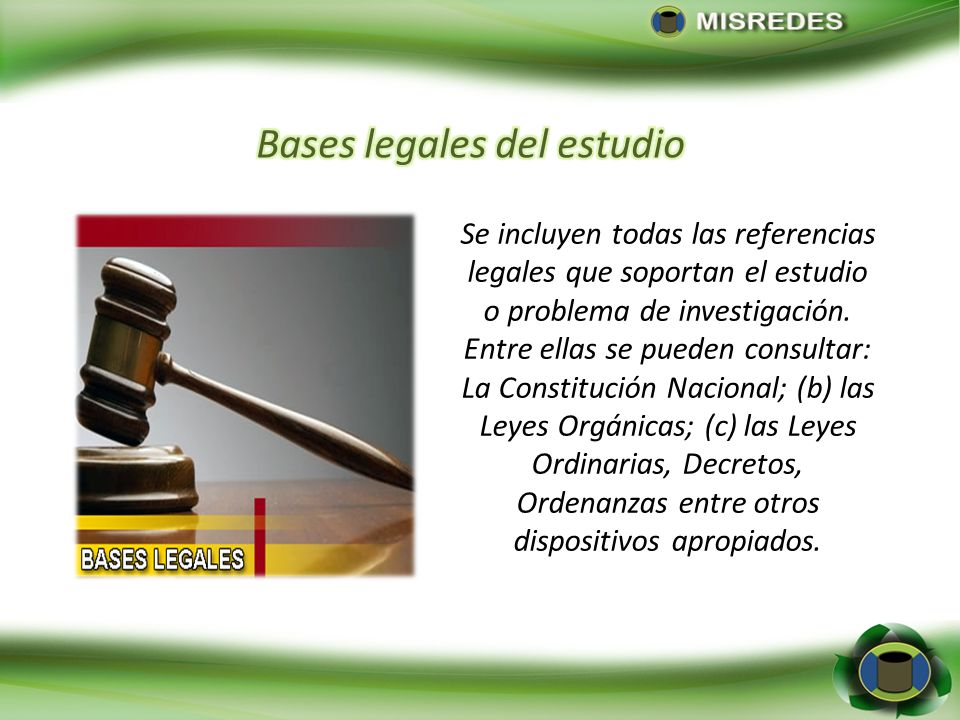 Bases legales del estudio