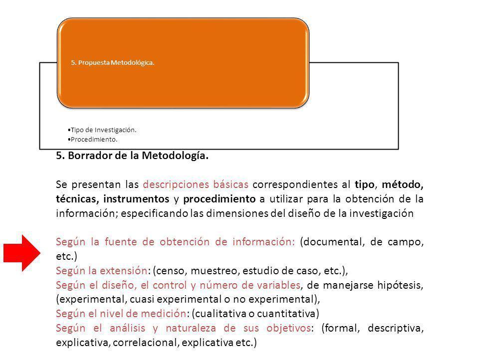 5. Borrador de la Metodología.