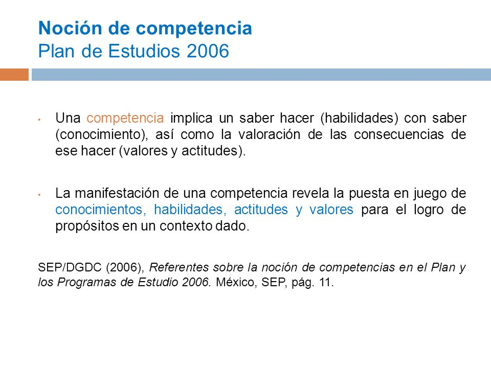 Noción de competencia Plan de Estudios 2006