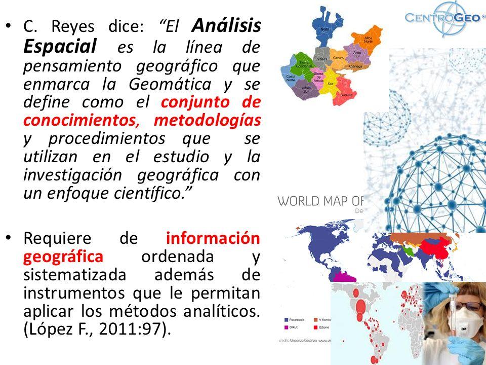C. Reyes dice: El Análisis Espacial es la línea de pensamiento geográfico que enmarca la Geomática y se define como el conjunto de conocimientos, metodologías y procedimientos que se utilizan en el estudio y la investigación geográfica con un enfoque científico.