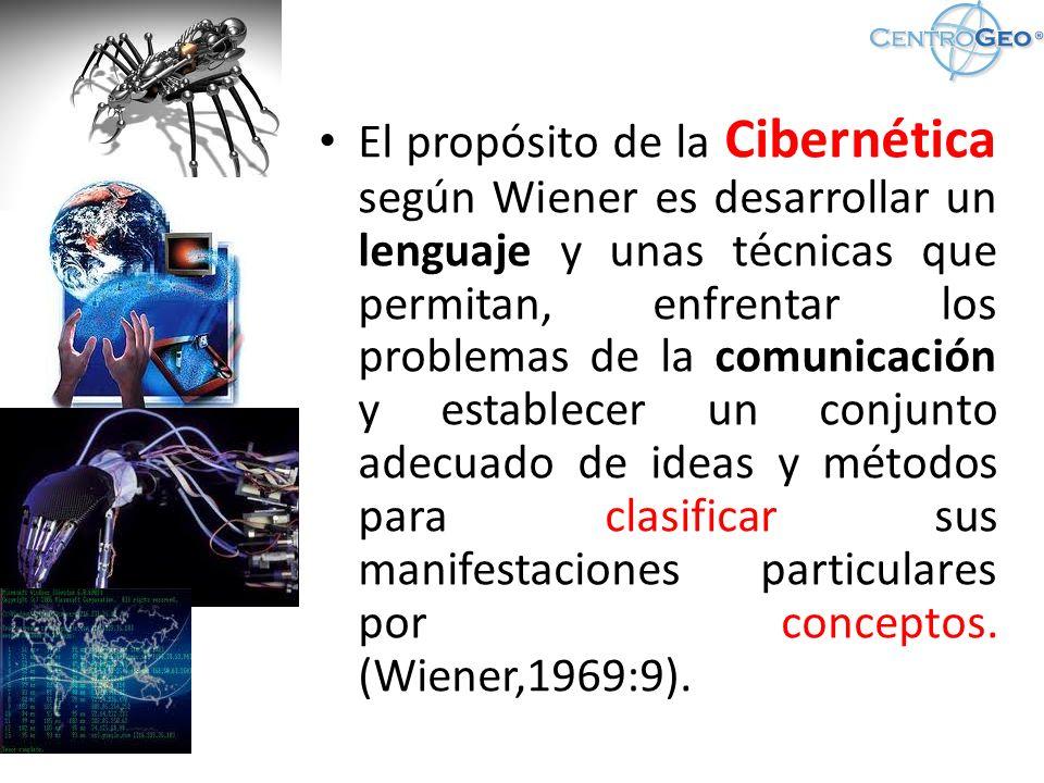 El propósito de la Cibernética según Wiener es desarrollar un lenguaje y unas técnicas que permitan, enfrentar los problemas de la comunicación y establecer un conjunto adecuado de ideas y métodos para clasificar sus manifestaciones particulares por conceptos.