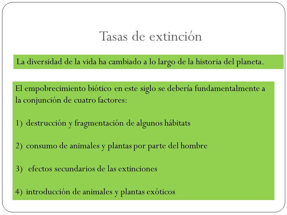 Tasas de extinción La diversidad de la vida ha cambiado a lo largo de la historia del planeta.