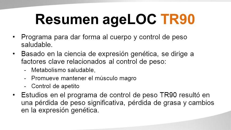 Resumen ageLOC TR90 Programa para dar forma al cuerpo y control de peso saludable.