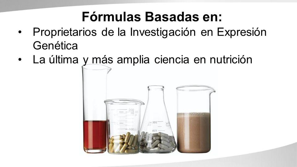 Fórmulas Basadas en: Proprietarios de la Investigación en Expresión Genética.