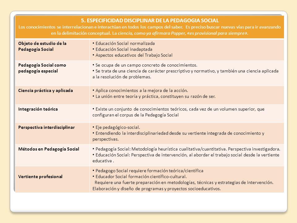 5. ESPECIFICIDAD DISCIPLINAR DE LA PEDAGOGIA SOCIAL