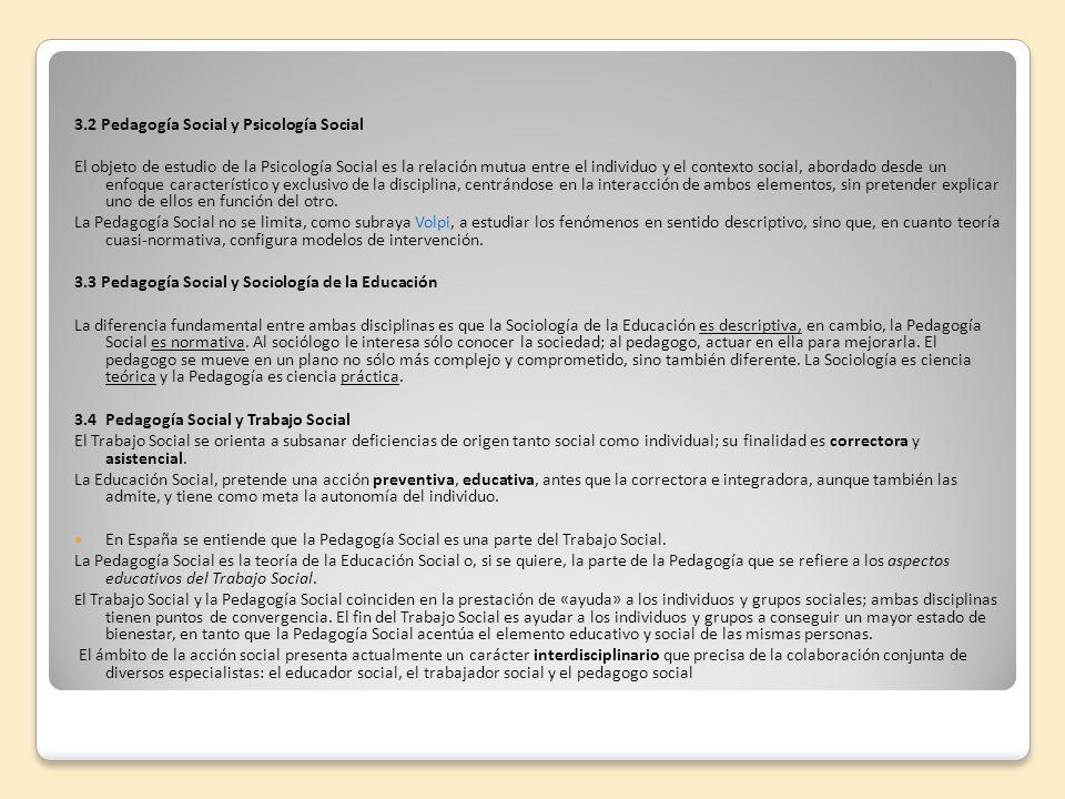 3.2 Pedagogía Social y Psicología Social