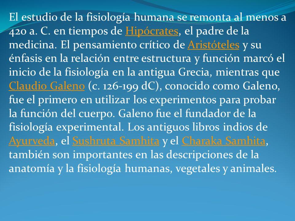 El estudio de la fisiología humana se remonta al menos a 420 a. C