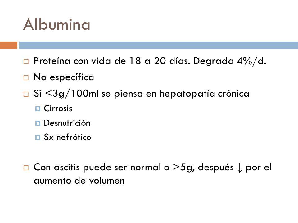 Albumina Proteína con vida de 18 a 20 días. Degrada 4%/d.