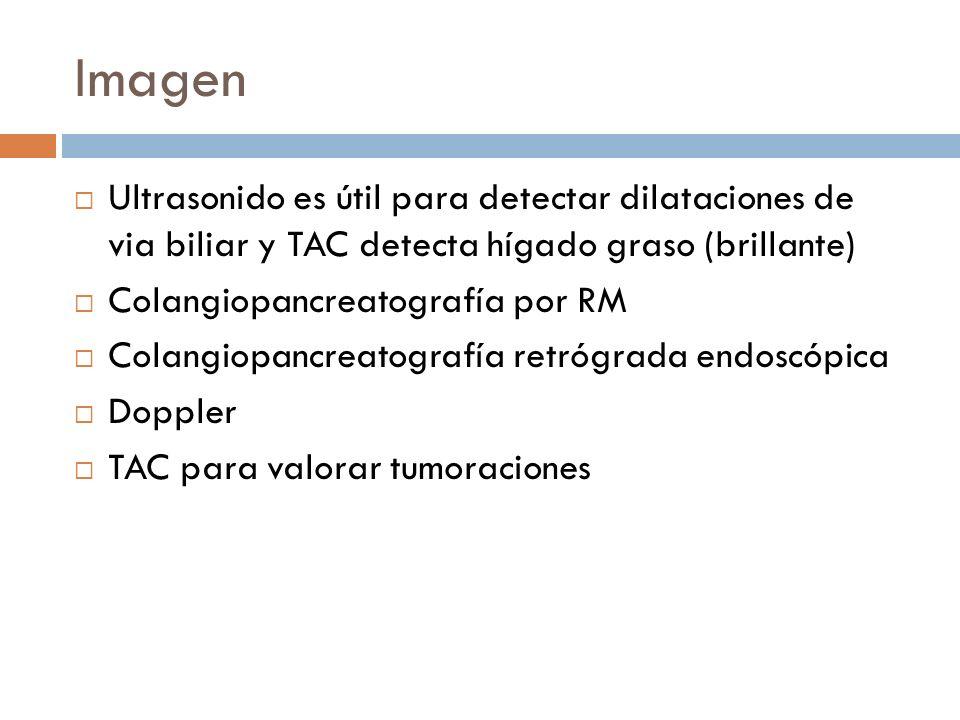 Imagen Ultrasonido es útil para detectar dilataciones de via biliar y TAC detecta hígado graso (brillante)