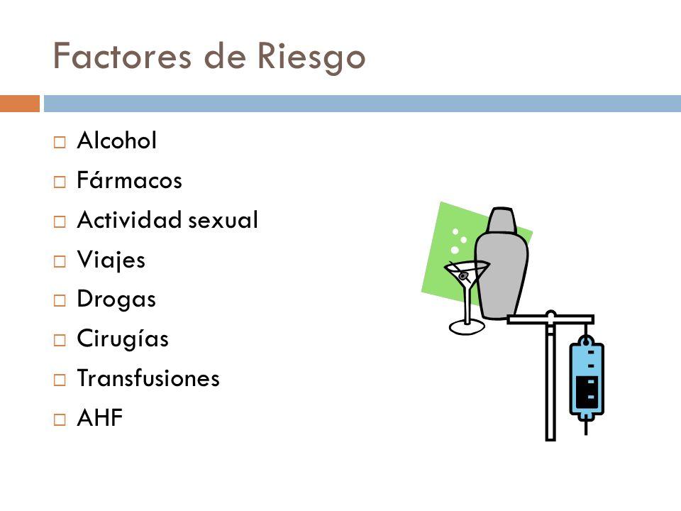 Factores de Riesgo Alcohol Fármacos Actividad sexual Viajes Drogas