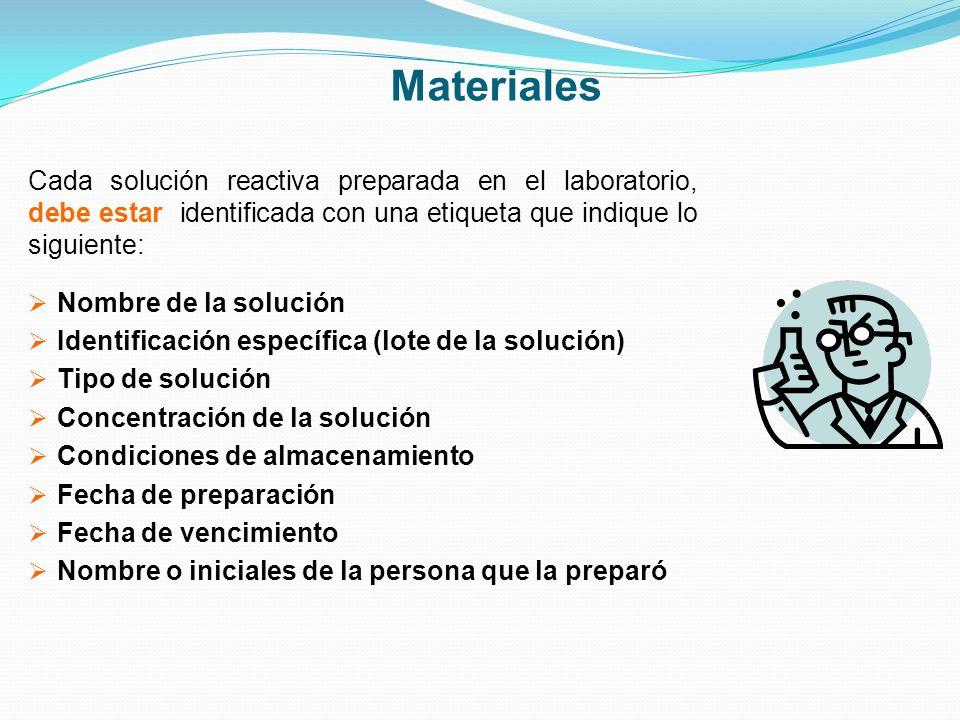 Materiales Cada solución reactiva preparada en el laboratorio, debe estar identificada con una etiqueta que indique lo siguiente: