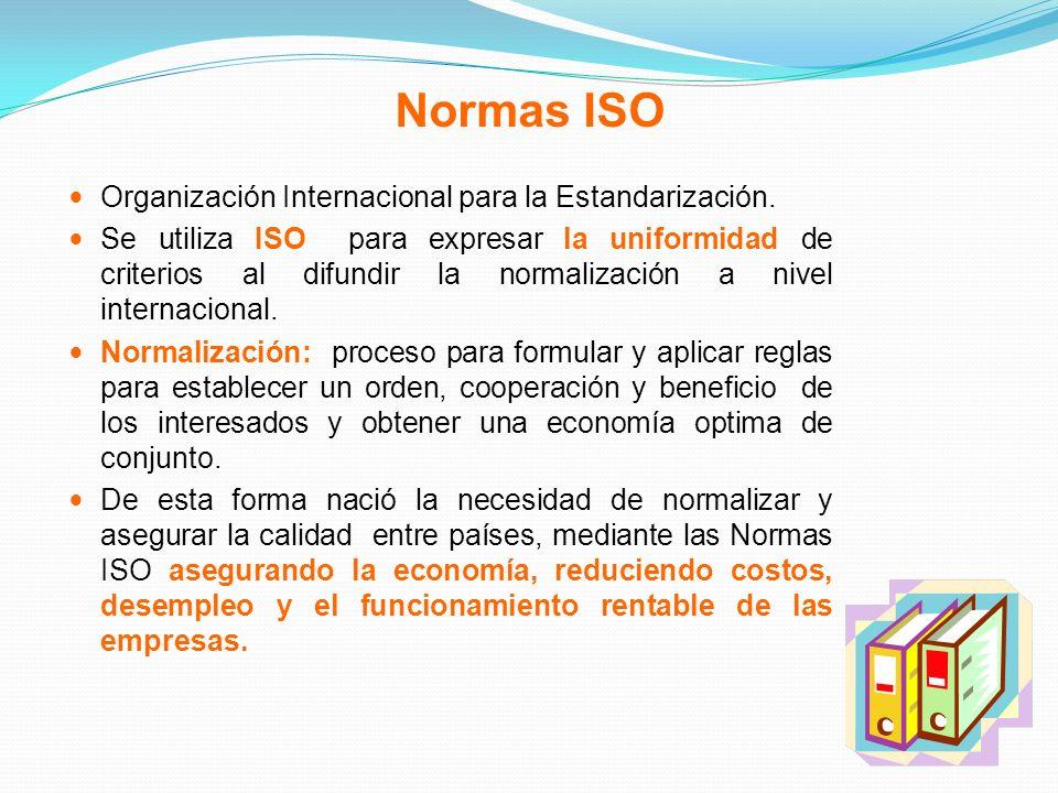 Normas ISO Organización Internacional para la Estandarización.