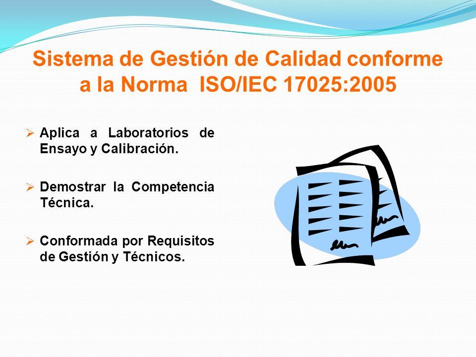 Sistema de Gestión de Calidad conforme a la Norma ISO/IEC 17025:2005