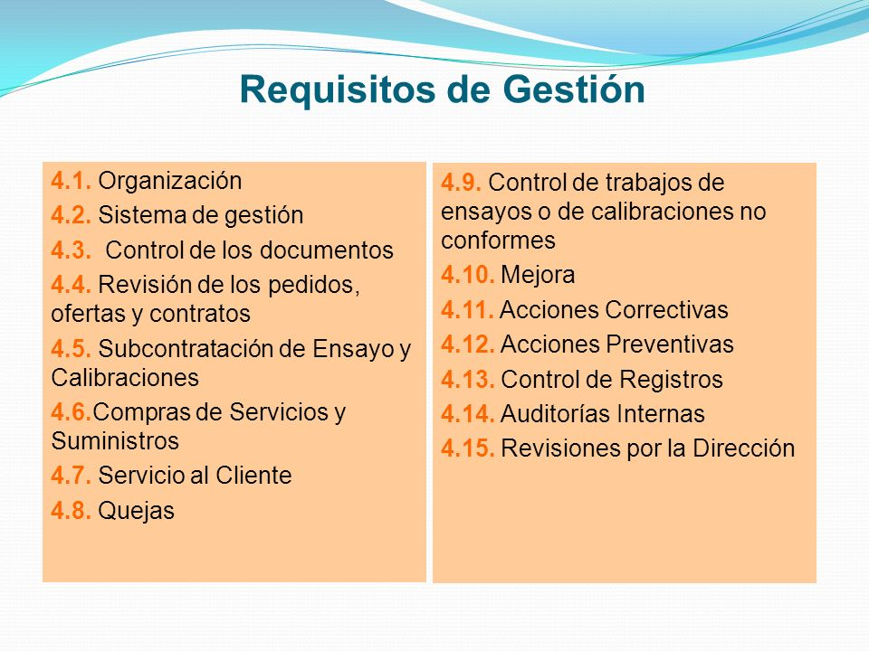 Requisitos de Gestión