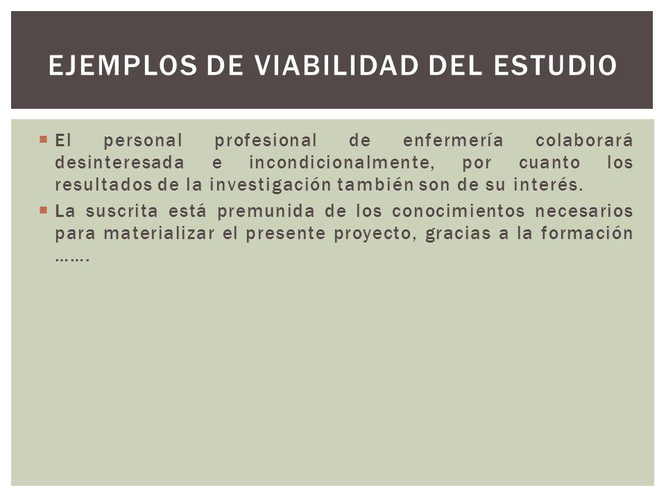 Ejemplos de viabilidad del estudio