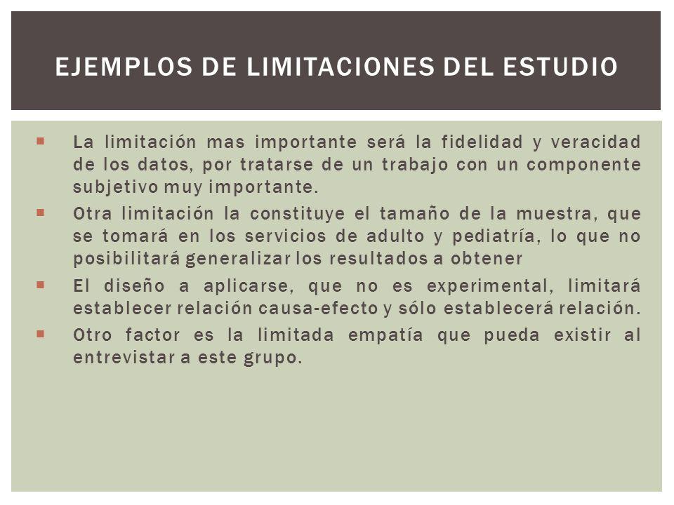 EJEMPLOS DE LIMITACIONES DEL ESTUDIO