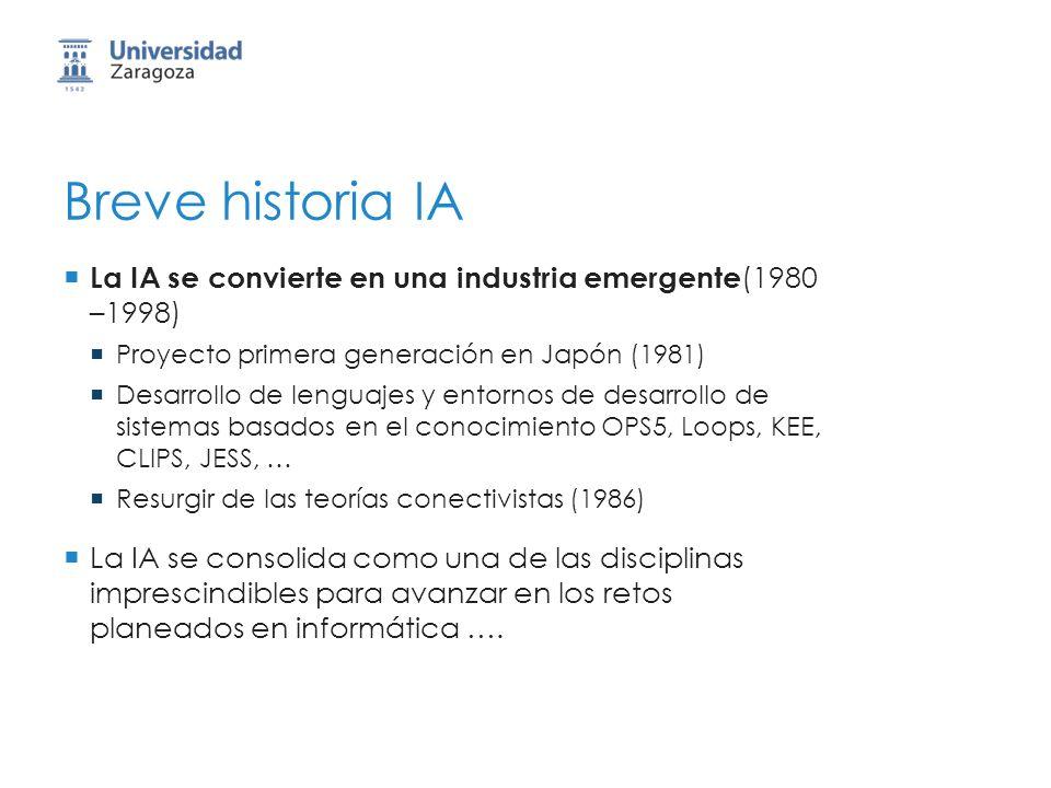 Breve historia IA La IA se convierte en una industria emergente(1980 –1998) Proyecto primera generación en Japón (1981)