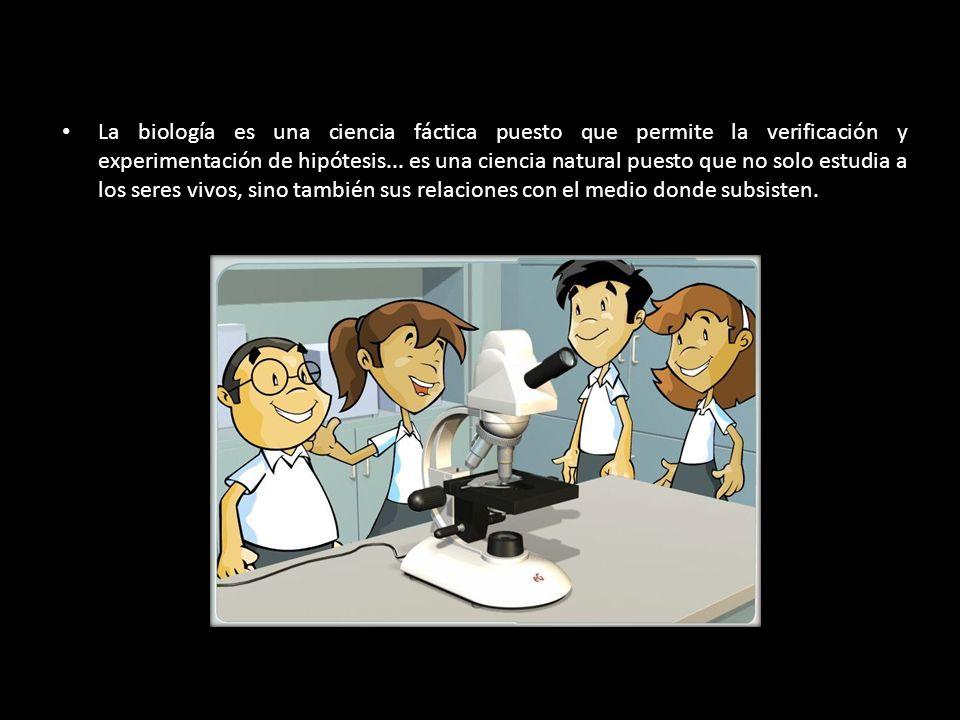 La biología es una ciencia fáctica puesto que permite la verificación y experimentación de hipótesis...