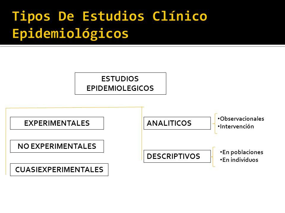 Tipos De Estudios Clínico Epidemiológicos