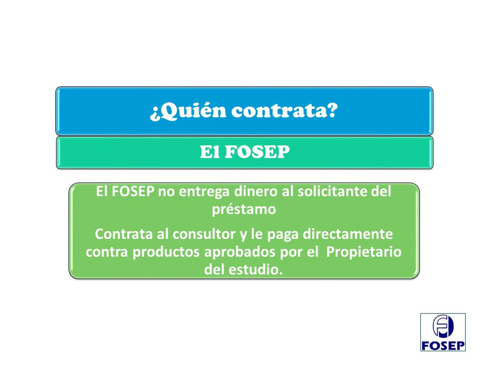 El FOSEP no entrega dinero al solicitante del préstamo