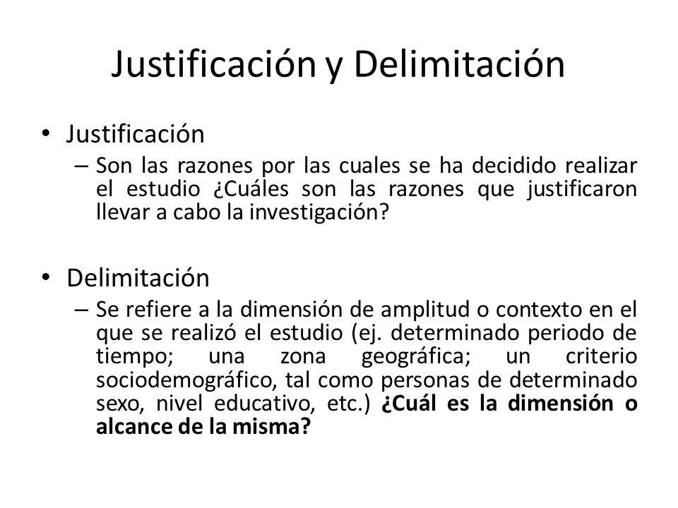Justificación y Delimitación