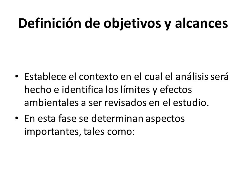 Definición de objetivos y alcances