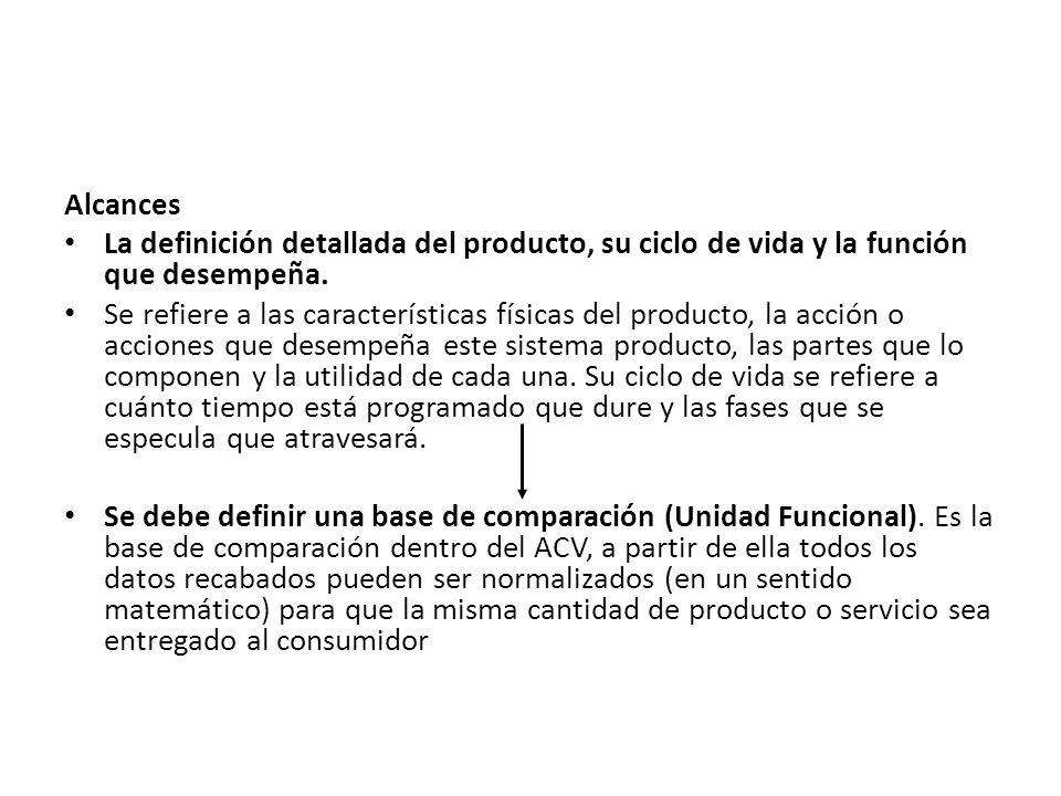 Alcances La definición detallada del producto, su ciclo de vida y la función que desempeña.