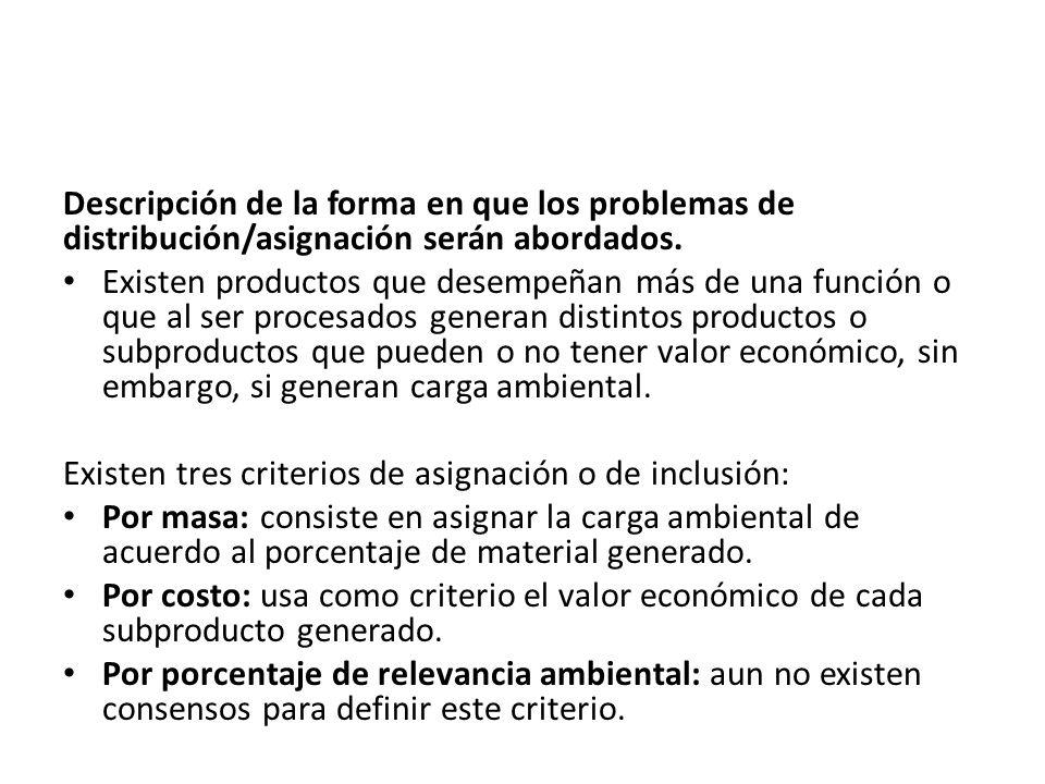 Descripción de la forma en que los problemas de distribución/asignación serán abordados.