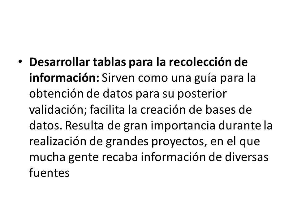 Desarrollar tablas para la recolección de información: Sirven como una guía para la obtención de datos para su posterior validación; facilita la creación de bases de datos.