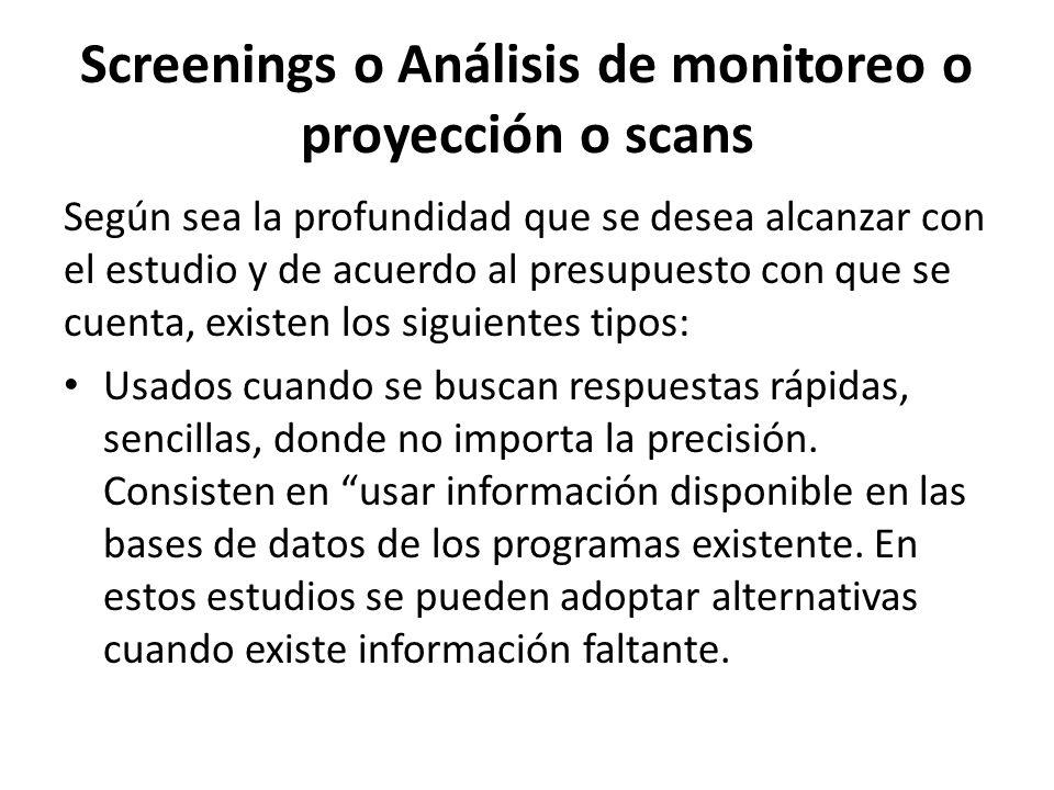 Screenings o Análisis de monitoreo o proyección o scans
