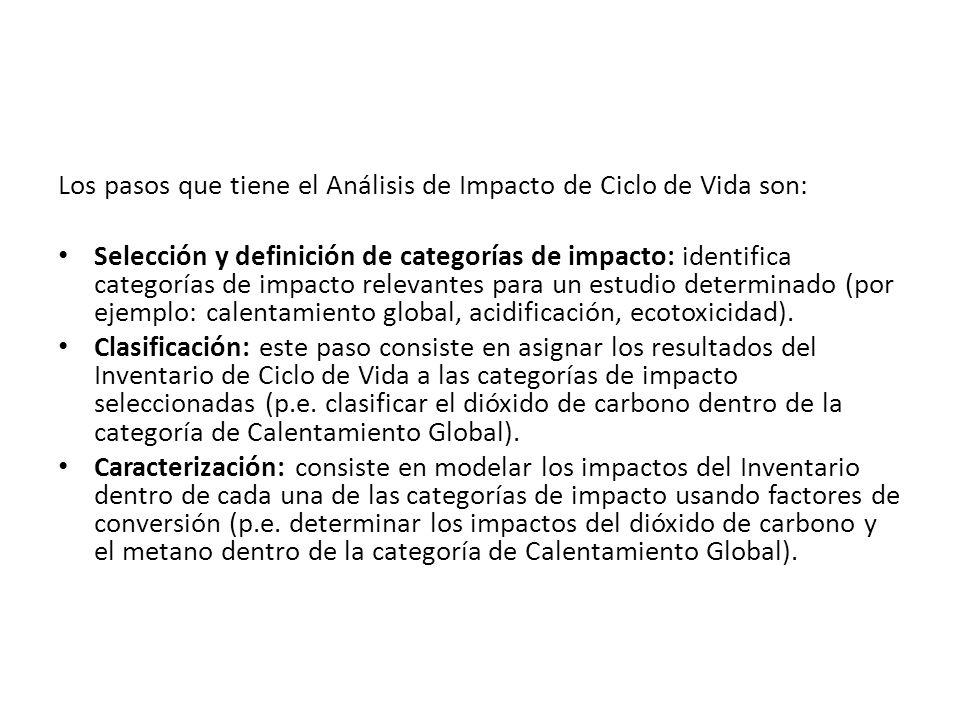 Los pasos que tiene el Análisis de Impacto de Ciclo de Vida son: