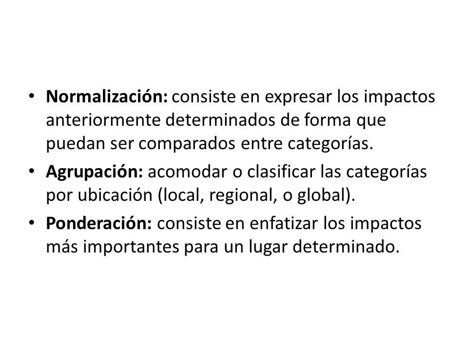Normalización: consiste en expresar los impactos anteriormente determinados de forma que puedan ser comparados entre categorías.