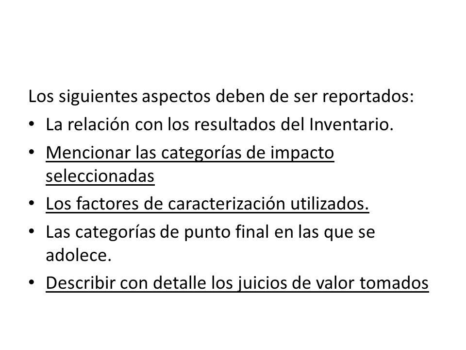 Los siguientes aspectos deben de ser reportados: