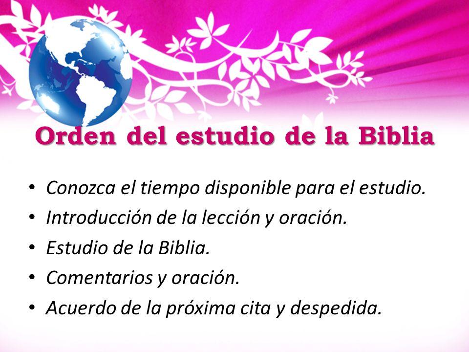 Orden del estudio de la Biblia
