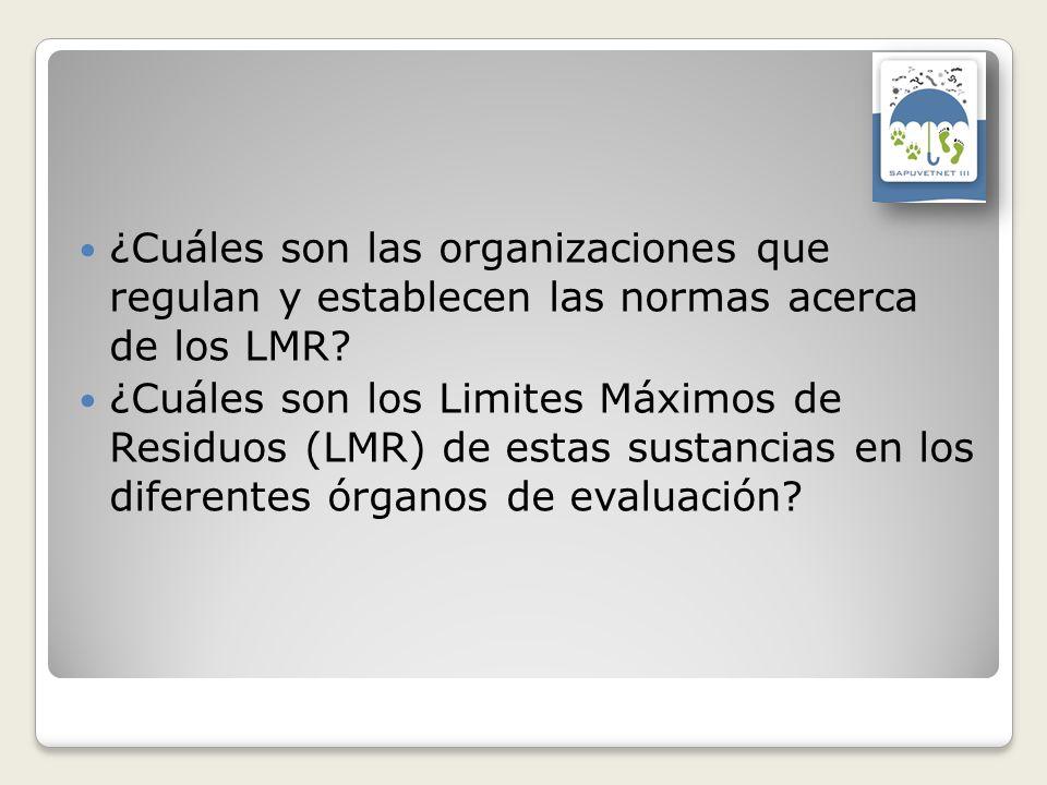 ¿Cuáles son las organizaciones que regulan y establecen las normas acerca de los LMR