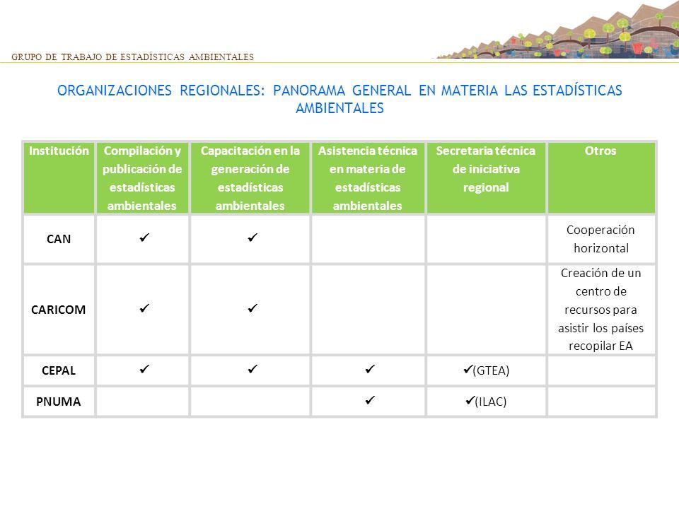 GRUPO DE TRABAJO DE ESTADÍSTICAS AMBIENTALES