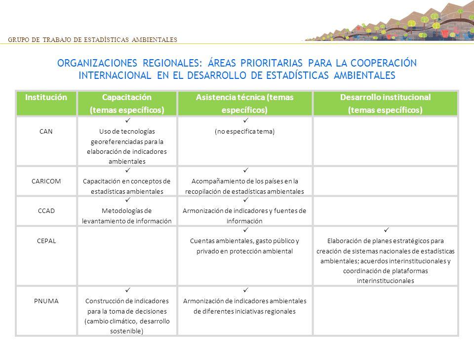 Asistencia técnica (temas específicos) Desarrollo institucional