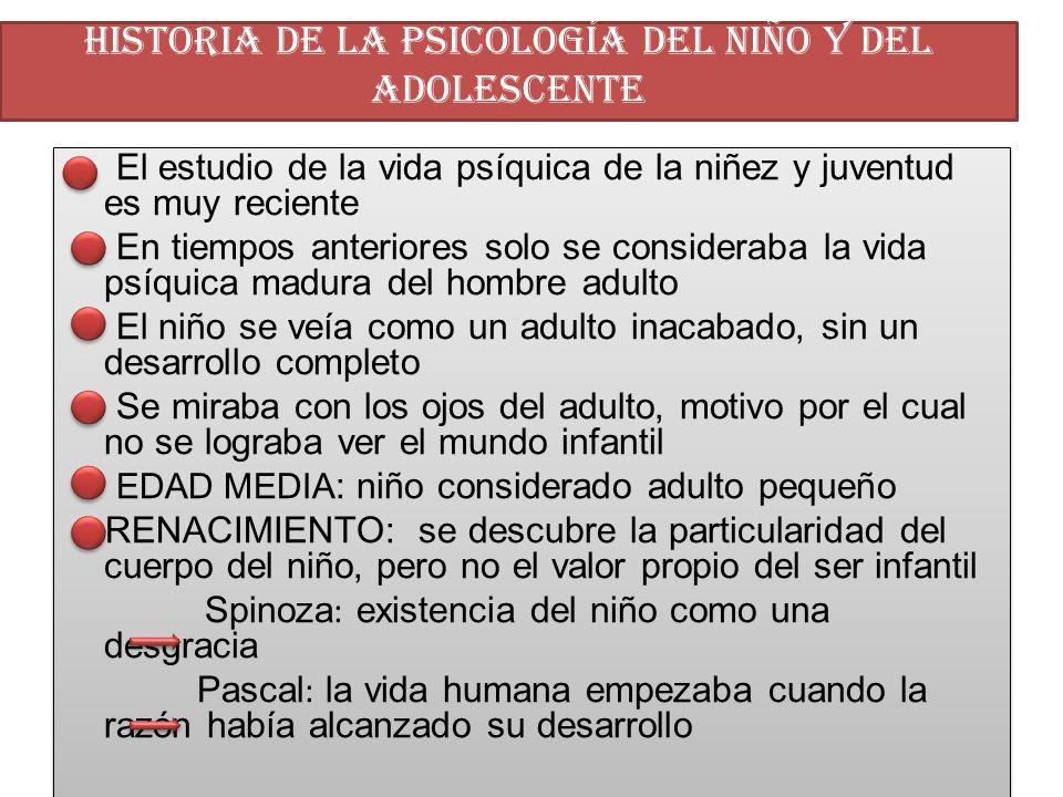 HISTORIA DE LA PSICOLOGÍA DEL NIÑO Y DEL ADOLESCENTE