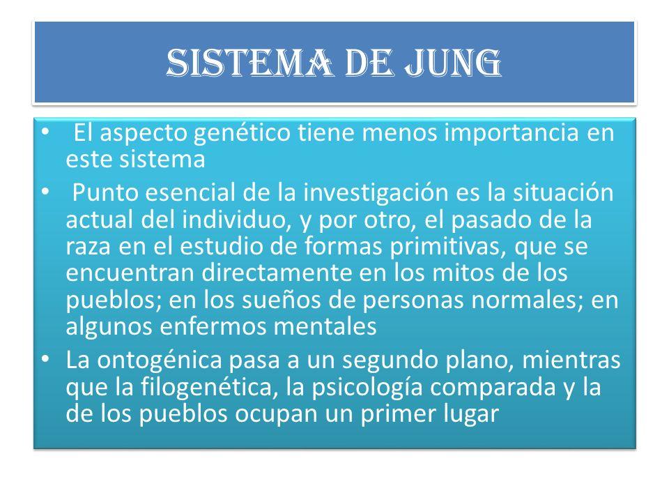 Sistema de Jung El aspecto genético tiene menos importancia en este sistema.