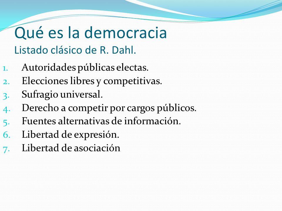 Qué es la democracia Listado clásico de R. Dahl.