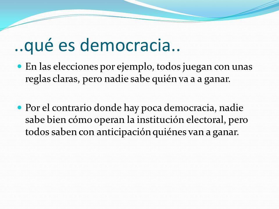 ..qué es democracia.. En las elecciones por ejemplo, todos juegan con unas reglas claras, pero nadie sabe quién va a a ganar.