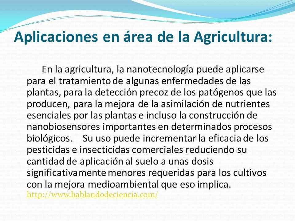 Aplicaciones en área de la Agricultura: