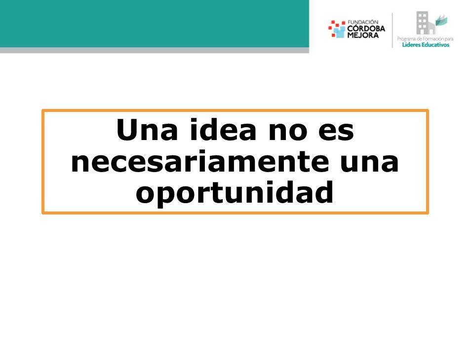 Una idea no es necesariamente una oportunidad
