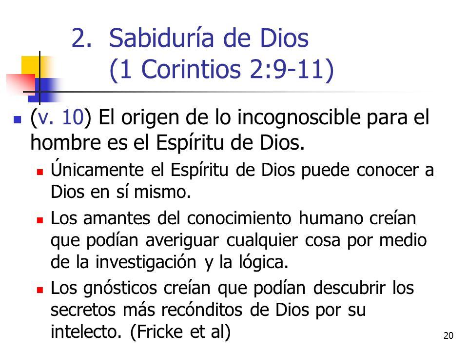 Sabiduría de Dios (1 Corintios 2:9-11)