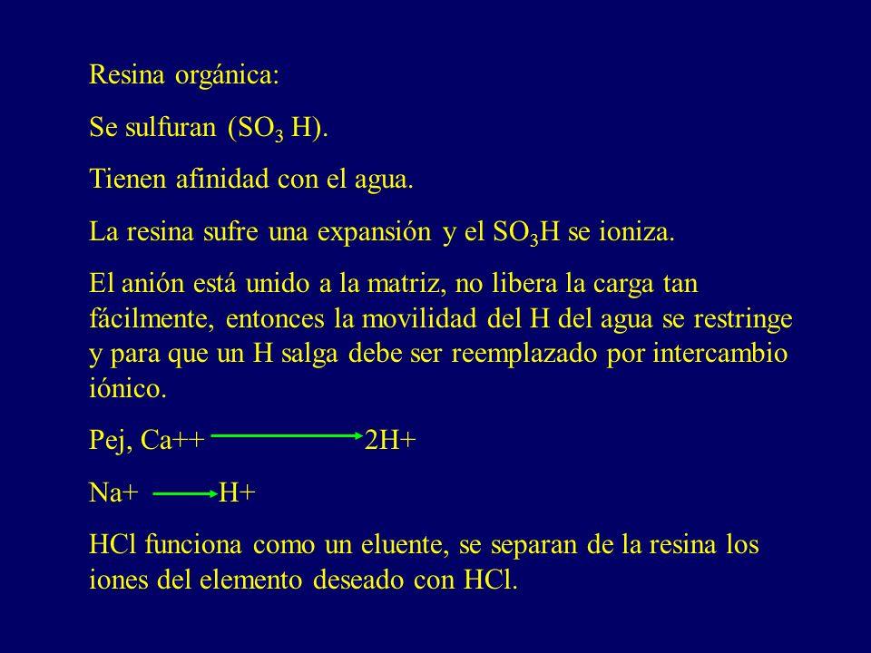 Resina orgánica: Se sulfuran (SO3 H). Tienen afinidad con el agua. La resina sufre una expansión y el SO3H se ioniza.