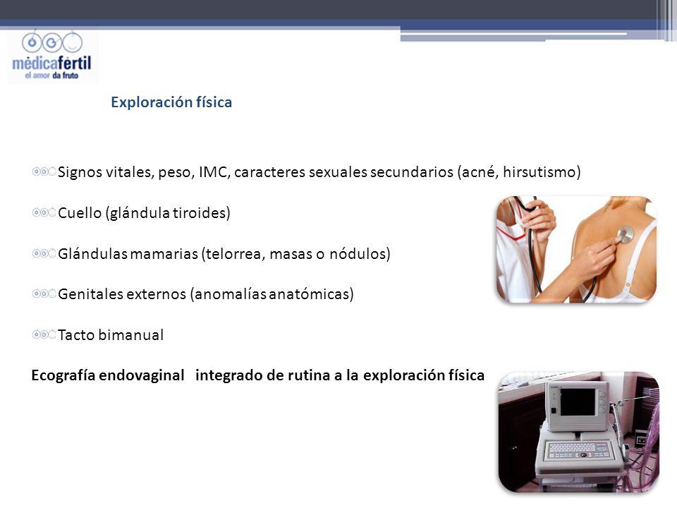 Exploración física Signos vitales, peso, IMC, caracteres sexuales secundarios (acné, hirsutismo) Cuello (glándula tiroides)