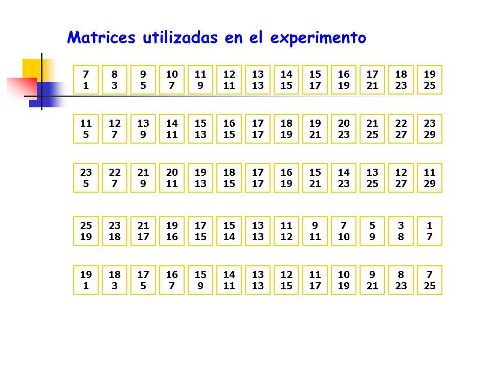 Matrices utilizadas en el experimento