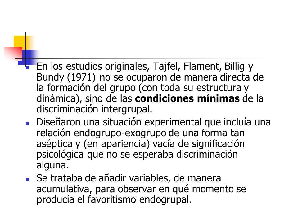 En los estudios originales, Tajfel, Flament, Billig y Bundy (1971) no se ocuparon de manera directa de la formación del grupo (con toda su estructura y dinámica), sino de las condiciones mínimas de la discriminación intergrupal.