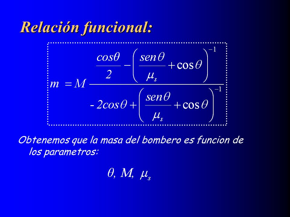 Relación funcional: Obtenemos que la masa del bombero es funcion de los parametros: