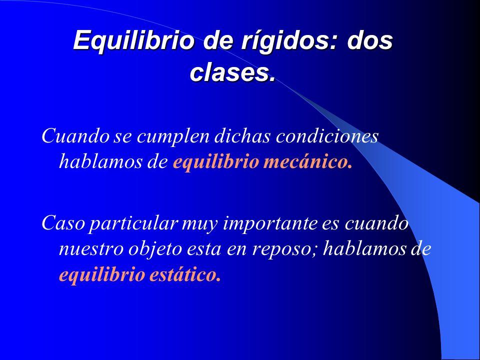 Equilibrio de rígidos: dos clases.